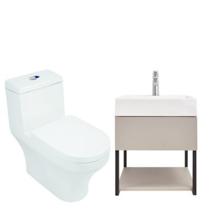 Combo Fussion : Sanitario Fussion + Lavamanos Fussion + Mueble Fussion 60 cm + grifería Draa