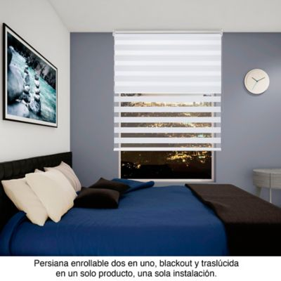Persiana Enrollable 2En1 200x180 cm Blanco Perlado