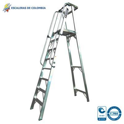 Escalera Tipo 1A Plataforma Aluminio 8 Pasos /2.40 Metros 136 Kg