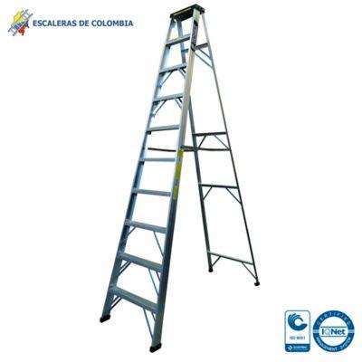 Escalera Aluminio Tipo 1 Tijera  10 Pasos / 3.0 Metros 102 Kg