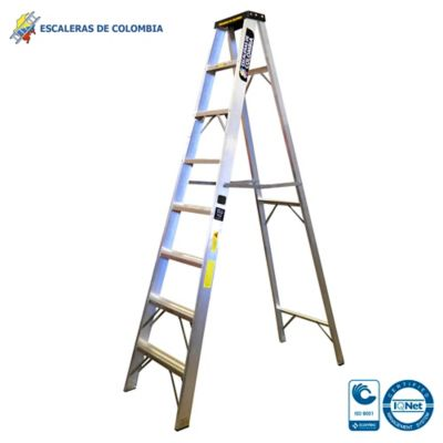 Escalera Aluminio Tipo 1A Tijera  8 Pasos / 2.40 Metros 136 Kg