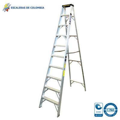Escalera Aluminio Tipo 1A Tijera  10 Pasos / 3.0 Metros 136 Kg