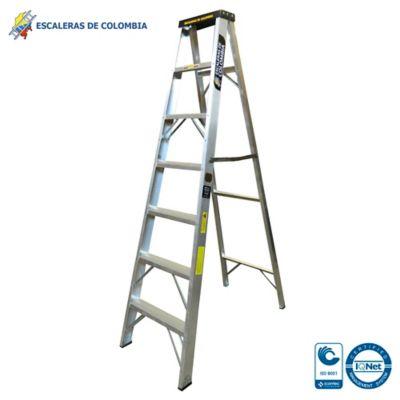 Escalera Aluminio Tipo 1A Tijera  7 Pasos / 2.10 Metros 136 Kg
