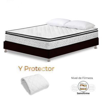 Colchón Sencillo Stanford + Base Cama + Protector + Almohadas