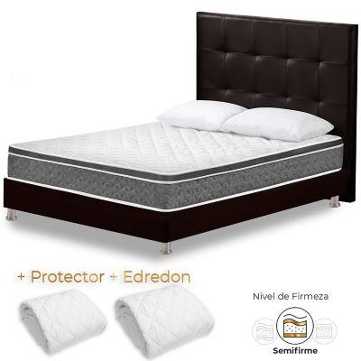 Colchón Semidoble Cambridge + Base Cama + Cabecero + Edredón + Protector + Alm