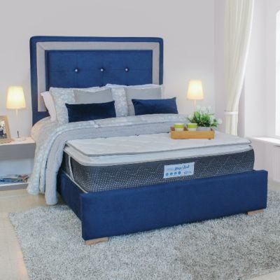 Cama Tapizada Debby 140x190 Microfibra Azul