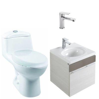Combo Elipse : Sanitario Smart + Mueble Elipse 45 cm + Lavamanos Elipse + Grifería Palma