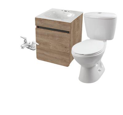 Combo Aluvia : Sanitario Manantial + Mueble Aluvia 45 cm Elevado Miel + Lavamanos Aluvia + Grifería Nogal