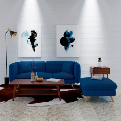 Sofá Classic 3 Puestos 180x80x72 + Puff 54x54x42 Tela Azul