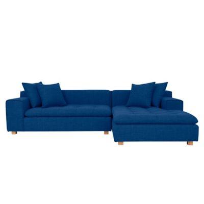 Sofá Esquinero 5 Puestos Premium + Cojines Azul