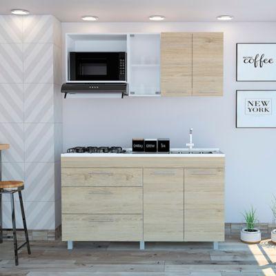 Cocina Integral Avanti 1.50 Metros 3 Cajones Blanco Rovere Incluye Mesón Derecho Mueble Superior 60x150x31.5 cm / Mueble Inferior 88x150x51.3 cm