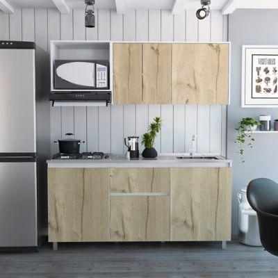 Cocina Integral Atlanta 1.80 Metros 4 Cajones Blanco+Duna Incluye Meson Derecho