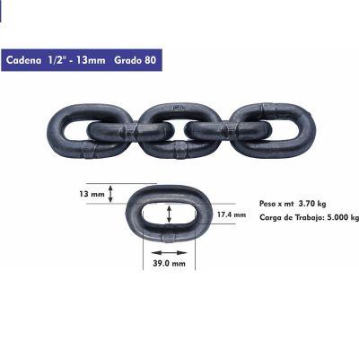 Cadena Pulida G-80 De 13 mm x 15 Mts