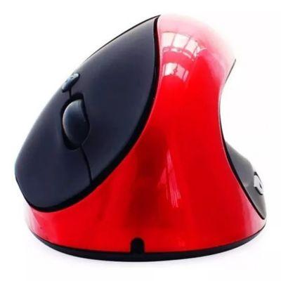Mouse Inalámbrico Ergonómico Recargable Para Diestro Rojo