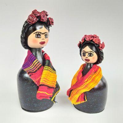 Fridas Set x 2 Negro - Multicolor 18 y 14cm Madera