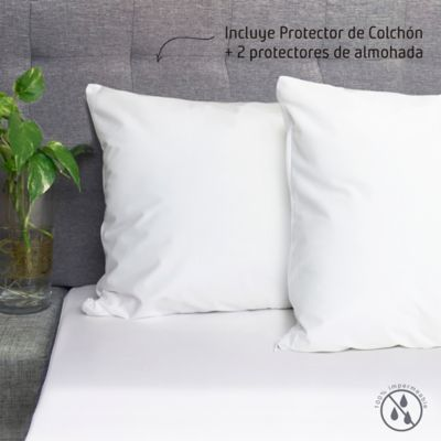 Set Protector Colchón Fuelle 40 cm King + Protector Almohada 50x90 cm Impermeable