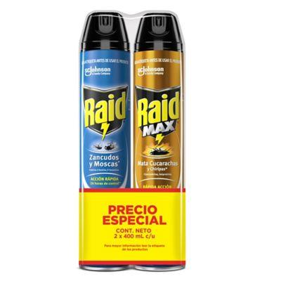 Insecticidad Eliminador Voladores y Rastreros 400 + Raid Max 400 /12
