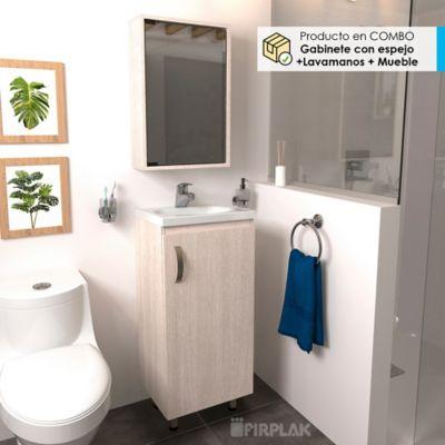 Lavamanos Eco Blanco + Mueble Básico Piso 40x30 Mali + Gabinete