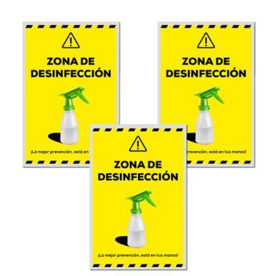 Señal Zona Descontaminación 30x45cm x3 Unidades