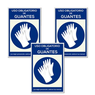 Señal Uso Obligatorio Guantes 30x45cm x3 Unidades