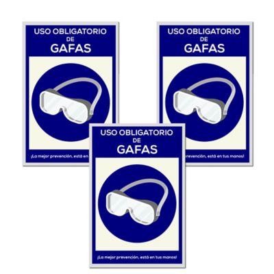 Señal Uso Obligatorio Gafas 30x45cm x3 Unidades