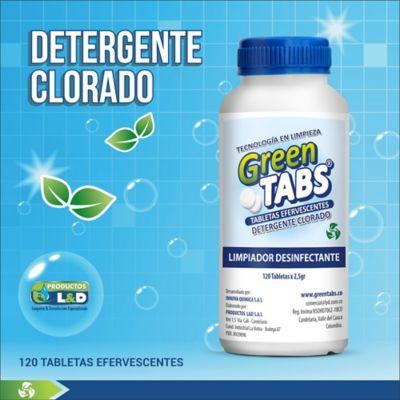 Detergente Cloro Greentabs Tabletas x2.5gr 120 Unidades