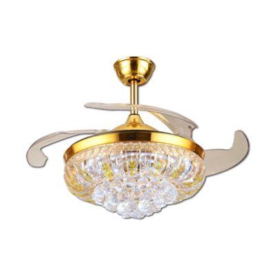 Ventilador Techo Led Cristal Dorado
