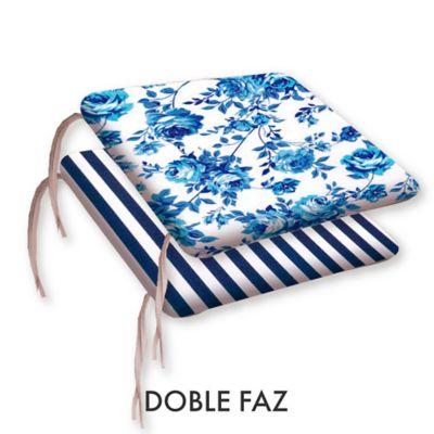 Cojín Silla Eco 39 x 39 cm Rosas Azul