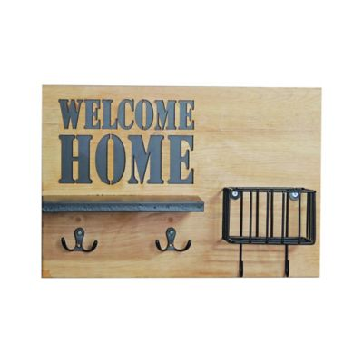 Perchero Madera Welcome Home 36x24.5 cm Beige