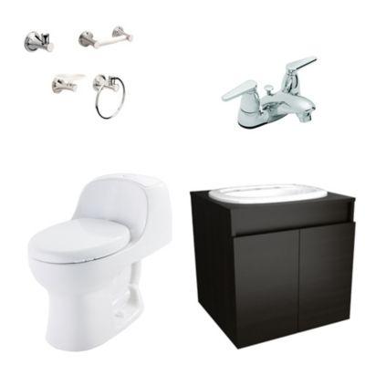 Combo Montecarlo Advance Mueble Basico Cascade : Sanitario 1 pieza Mueble Elevado Lavamanos Griferia