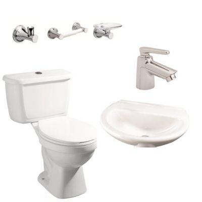 Combo De Baño Blanco, Incluye Sanitario De Dos Piezas Consumo De Agua 4.8 Lts Por Descarga, Lavamanos De Porcelana, Grifería Sencilla Y Tres Accesorios (Jabonera, Portarrollo Y Percha).
