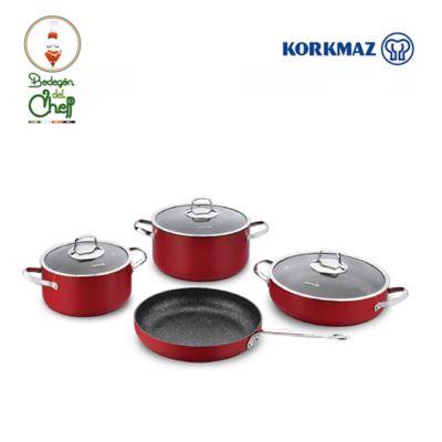 Batería Cocina Roja 4 Piezas Aluminio Antiadherente Zeta