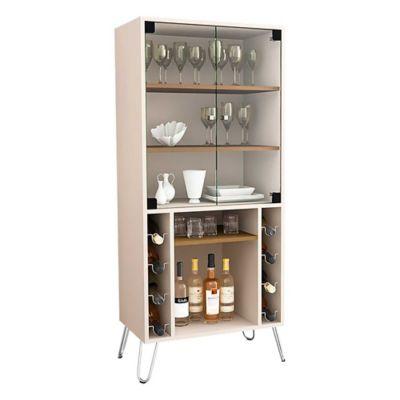 Mueble para Bar Scala Puerta Vidrio 36x60x136 Blanco