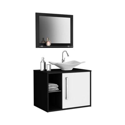 Mueble Baño Baden + Lavamanos + Espejo Negro