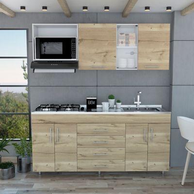 Cocina Integral Anza 1.80 Metros 4 Cajones Blanco Marquez +Duna Incluye Mesón con Poceta Derecha con estufa 4 Fogones a gas