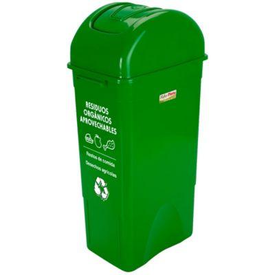 Papelera Cuadrada 55Lt Residuos Orgánicos Aprovechables Verde x3Unids