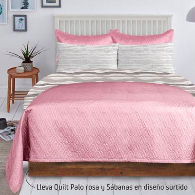 Quilt Unicolor Palorosa + Juego Sábana 132 Hilos Extradoble Diseño Surtido