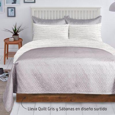 Quilt Unicolor Gris + Juego  Sábana 132 Hilos Doble Diseño Surtido
