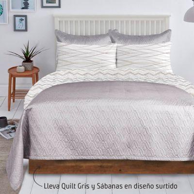 Quilt Unicolor Gris + Juego Sábana 132 Hilos Sencillo Diseño Surtido
