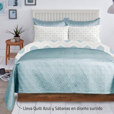 Quilt Unicolor Azul + Juego Sábana 132 Hilos Sencillo Diseño Surtido