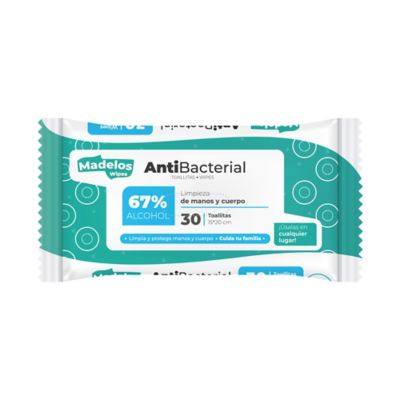 Paños Humedos Antibacteriales Manos y Cuerpo 30 Unidades