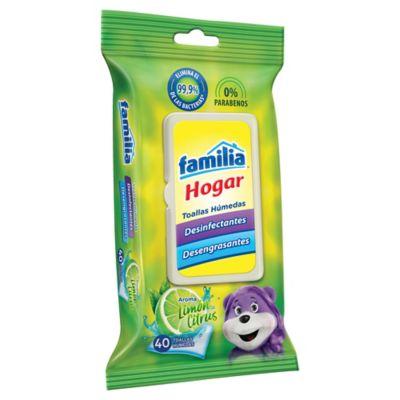 Toalla Húmeda Desinfectante Familia Hogar Flat paquete x40