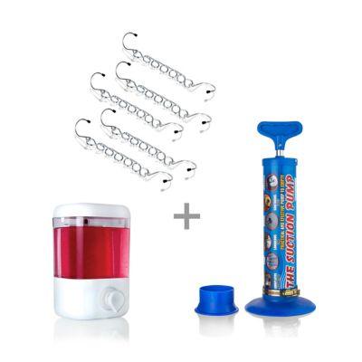 Dispensador Gel + Gancho Ahorra x 5 + Bomba Succión