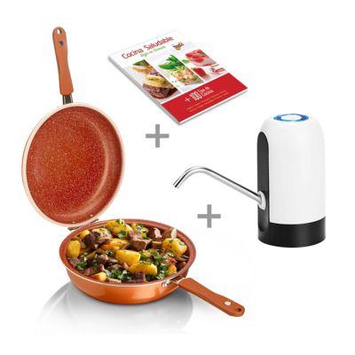 Sartén Doble 28cm + Bomba Eléctrica Agua + Libro Cocina