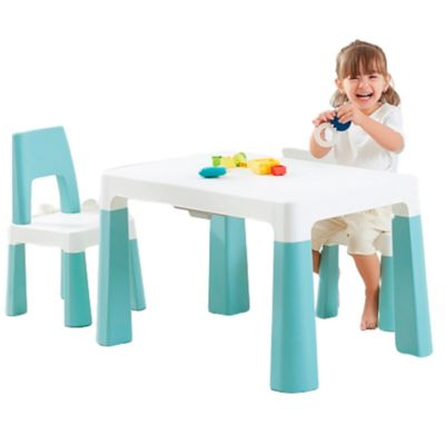 Set de Mesa Infantil y 2 Sillas Turquesa