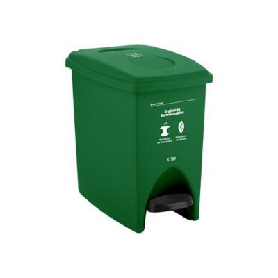 Papelera Pedal 10 Litros Verde Orgánico Aprovechable
