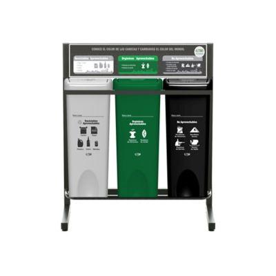 Punto Ecológico 3 Puestos 53 Litros Reciclable Aprovechable Organico Aprovechable No Aprovechable