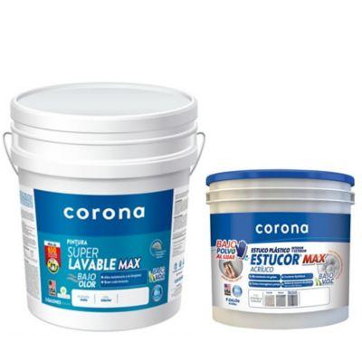 Combo Pintura Súper Lavable Blanco 5 Galones + Estuco Plástico 6 Kg