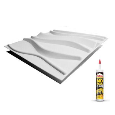 Panel 3d Paqx 12 Paneles 40x40cms 1.92mts² + Pegante Sp05