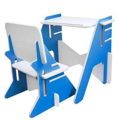 Combo Escritorio + Silla Infantil Multicolor Azul